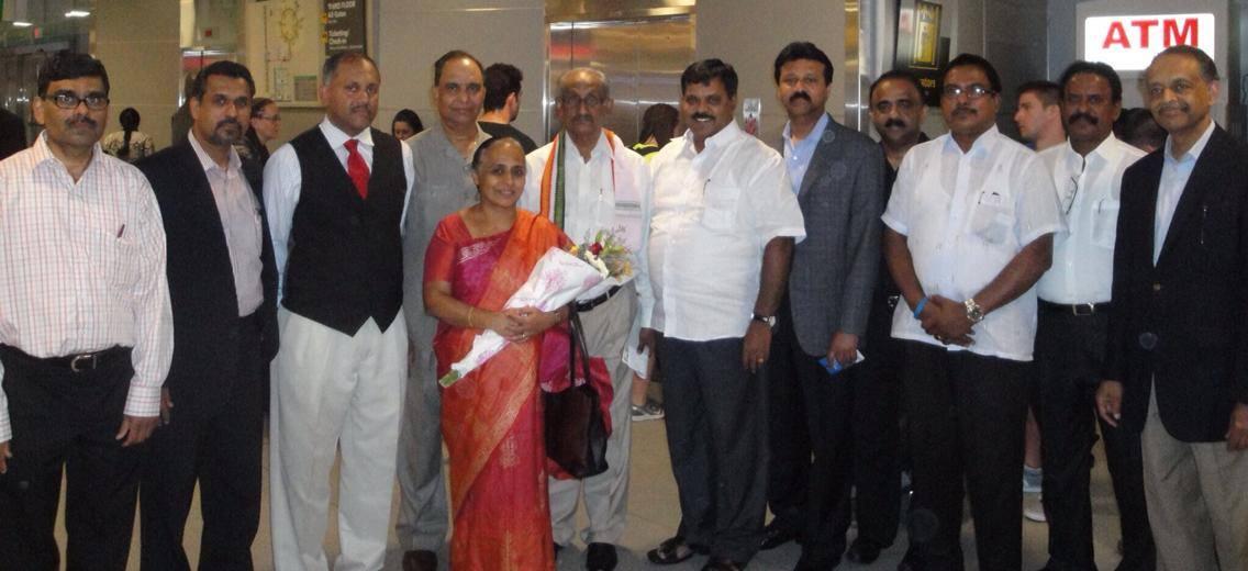 INOC reception to Kerala Minister K.C.Joseph and KPCC general secretary Joseph Vazhakkan at New York JFK airport