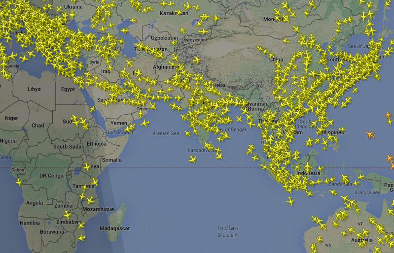 Flight routes via Flight Radar24
